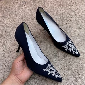 Escada Navy Embroidered Pointed Stiletto Heel S2